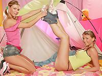 Girls making love on the floor