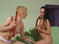 Lesbians masturbating
