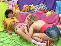 Lesbian teens in the studio