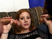 Black Fishnets Dressed Hairy Pussy Redhead Performs In a Gangbang Hardcore
