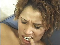 Hairy Pussy and Shaven Asshole Are Both being Fucked By an Ebony Guy and Then He Gives The Lady a Nice Facial