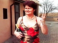 Mature Dame Marisstela is passing a sidewalk cafe when she is invited inside by the attractive young waiter.  She giggles like a schoolgirl as she follows the stud inside, only to be shocked when he whips out his large and bulging dick!  Unlike her own hairy pussy, the dick and balls are clean shaven and they look delicious - the mature babe just can't help herself! After she has taken her first mouthful of dick in years, she lies down on the floor while the stud mounts her in her pussy and ass. That's right - within about 15 minutes of meeting him, this mature whore's getting reamed in the butt! She won't take a creampie, swallowing instead.