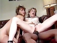 Pierced pussy bad girl gets black cock in 80s porn