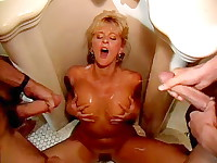Two vintageporn studs cum on bimbo's naked boobs