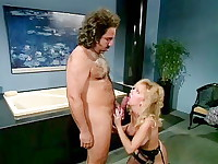 Ron Jeremy fucks blonde model's round ass
