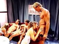 Retro movie with group oral scenes
