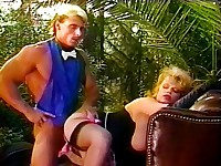 Lewd mistress fuck in the garden