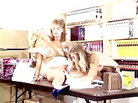 Busty ladies group retro fucking