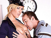 Damn, call the cops, at least if it's going to be a huge tit blonde whore like Victoria White that shows up.  Will Powers gets stopped for speeding and she takes him into the station on some outstanding warrants, and the outstanding size of his cock.  Once in the empty courtroom these two get at like horny co-eds.  Victoria's big boobs and beautiful round ass are rip for fucking, and she blows this stud's massive dick like it's her job.  She gets her clam slammed hard by this ample prick before getting blasted right in the face with a gigantic cumshot.