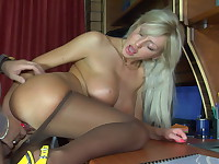 Monica and Adam uniform pantyhose sex movie
