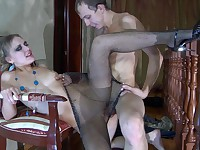Bella and Connor secretary pantyhose sex video