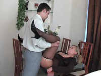 Benett and Adam office pantyhose video