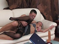 Subrina and Nathan uniform pantyhose sex movie