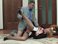 The lusty blonde secretary is heading to the bathroom when she runs into one of her coworkers and finds herself wanting to service his cock. She wants a taste of the fuck meat that swings between his legs and it's because the sexy pantyhose have been rubbing against her box all day long. Now she's getting the satisfaction she craves and he's munching and sucking and getting ready to fuck her. She likes it doggy style and the pantyhose slut gets it deep.