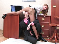 Alice and Mike office pantyhose sex movie