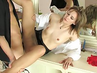 Isabella and Felix secretary pantyhose sex action