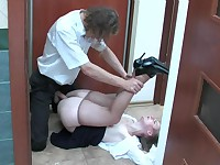 Inessa and Mike office pantyhose sex action
