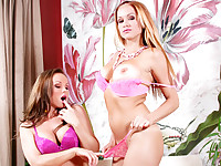 Silvia and Stacy Pink Lingerie