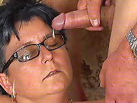 Mature bitch sucks dick