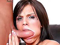 Tasty and nubile brunette McKenzie Pierce is about to take her most extreme throatfucking yet!  She strips out of her pink bra and panties and hunkers down on the floor in front of well hung Caucasian stud Jack Vegas.  This tattooed fucker wants to do some serious damage to the nubile coed's throat!  At first the blow job starts off softly enough, with McKenzie sucking and jerking the prick.  Things get a lot rougher as Jack lays McKenzie out on her back, making her throat extend completely straight.  This is absolutely perfect for the rough throat fucking action that Jack has in mind, and soon McKenzie is gagging and gasping for breath.