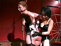 Asian mistress whips her slave hard