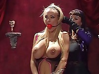 Blonde gets gagged and titty tortured