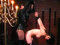 Bound slave is gagged for her mistress