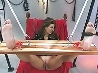 Chick takes a pussy and nipple torture