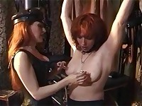 Hot wax and tight suction on nipples