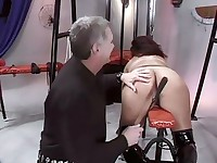 A man whips a fat and ugly slut's teats