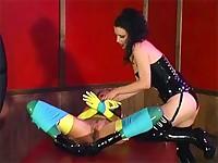 Masturbating slave licks her lady's pussy