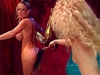 Mistress smacks her slave's boobs