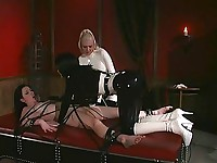 Two horny mistresses tie their cute slave