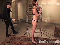 Petite red-head slave girl suffers and and sucks cock like a good submissive slut Actors: Lilla Katt, Maestro