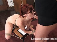 Girl fucked in bondage at university. Actors: Mark Davis, Hailey Star, Trinity Post