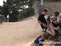 Alina Rose gets fucked by two men in public