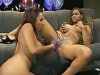 Black sluts fuck each other with dildos