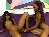 Hot black teens licking sweet pussies