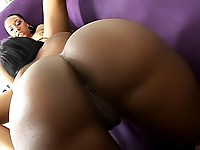 Ebony lesbians fuck with a double dong