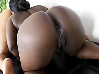 Ebony pussies dildoed in lesbian scene