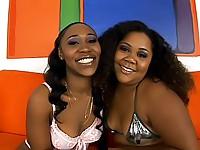 Horny ebony lesbians love to cum