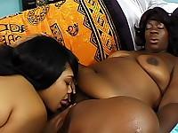 Huge dildo opens up black lesbian twats