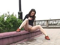 Girl leaks outdoors