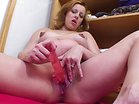 Dildo is ready-to-drop woman's best buddy