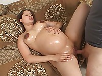 Pregnant Babe Enjoys Cock Plugging