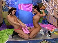 Lesbian teens playing