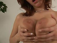 Jumbo titty Lilian fucks a vibe