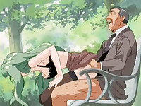 This lewd hentai couple should have been more careful and attentive when decided to fuck on the park bench. They plunged into the pleasure having no idea the man was voyeuring them from the bushes.