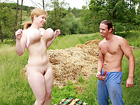 Meet Lea, this teenager has a pair of massive boobs! They're so big they could knock you out when trying to fuck her! In this scene she gets down and dirty with the gardener who isn't affraid of her big pair of tits. He Stuffs her pussy, fucks her tits and they do it in a public place where everybody can see them!