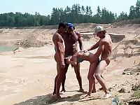 Girl in blue bikini fucked by 3 guys